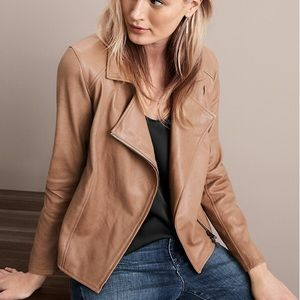 Eileen Fisher leather moto